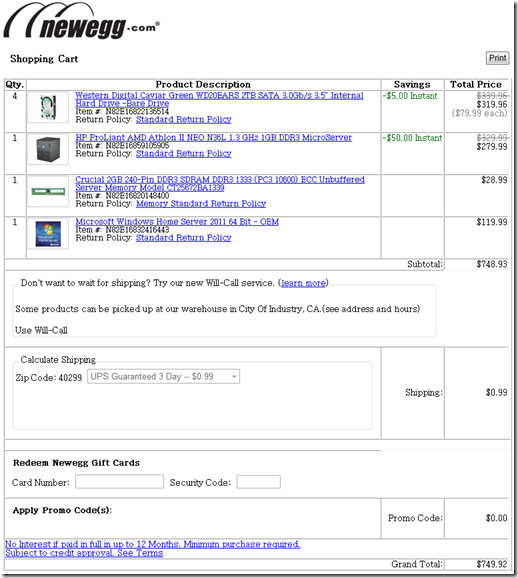 Shopping cart from Newegg.com showing an 8 TB WHS 2011 box delivered for <$750