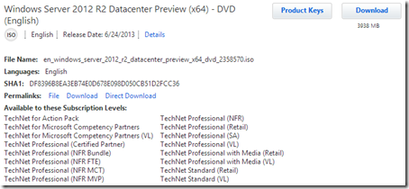 TechNet download of Windows Server 2012 R2 Datacenter Beta