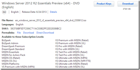 MSDN download of Windows Server 2012 R2 Essentials Beta