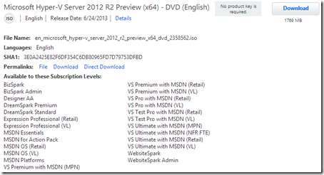 MSDN download of Windows Hyper-V Server 2012 R2 Beta