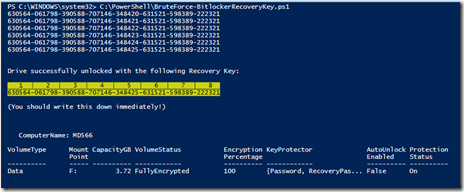 bitlocker recovery key