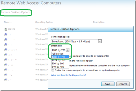 Click Remote Desktop Options and then choose your screen resolution to avoid an accidental a dual-monitor RWA connection