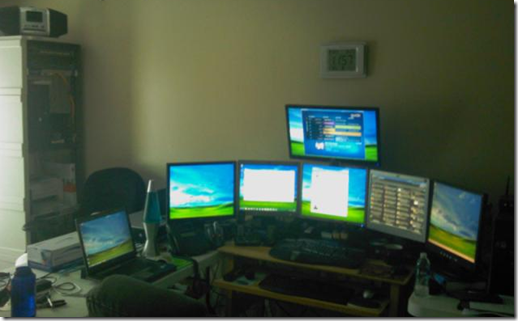 Server rack and monitors in my home office