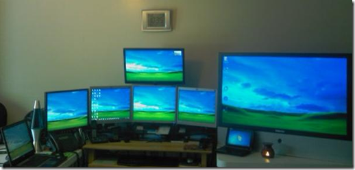 Closer view of the monitors in my home office