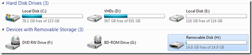 A Windows Explorer view of the drives on my Win7 PC