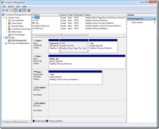 A Disk Management view of the drives on my Win7 PC
