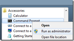 Open the Command Prompt using Run as Administrator