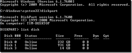 Open DiskPart and view the drives in your system