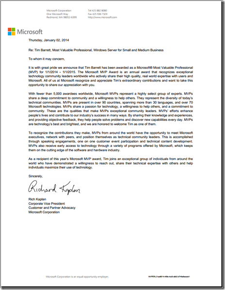 Microsoft Executive Recognition Letter - MVP Award 2014