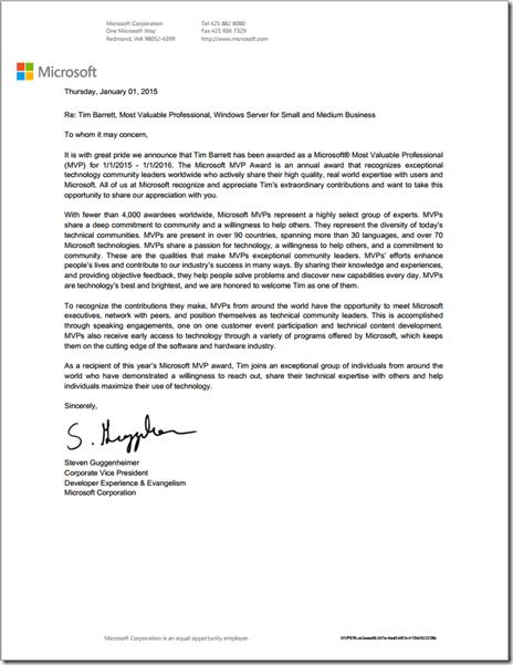 MVP Award Letter - 2015 (Tim Barrett)