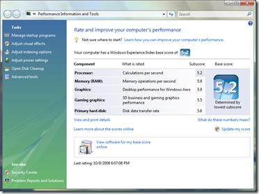 Vista 64-bit clocks in at 5.2 on the Vista Base Score