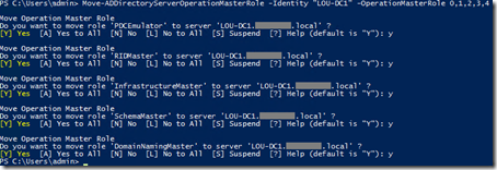 PowerShell FSMO role transfer - individual confirmation