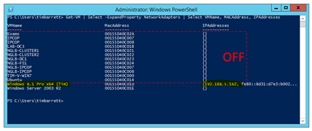 PowerShell code to get a list of VMs, MACs & IP Addresses