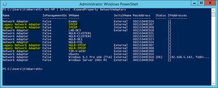 PowerShell - show legacy NICs in use on VMs