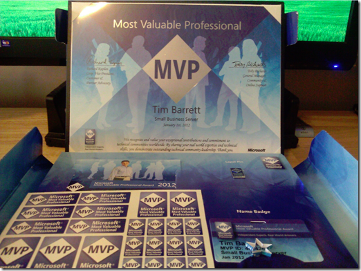 Microsoft Small Business Server Most Valuable Professional [SBS-MVP] award