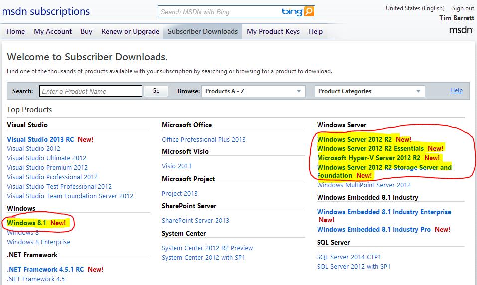 technet subscription product keys