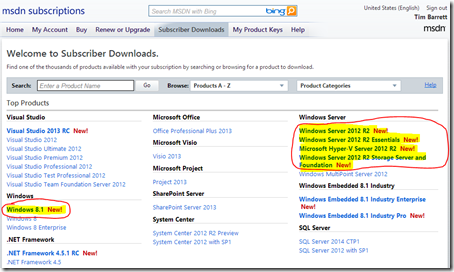 Windows Server 2012 R2 and 8.1 RTM on MSDN