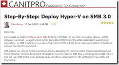 Blog - Step-By-Step: Deploy Hyper-V on SMB 3.0