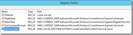 Registry Favorite via PowerShell
