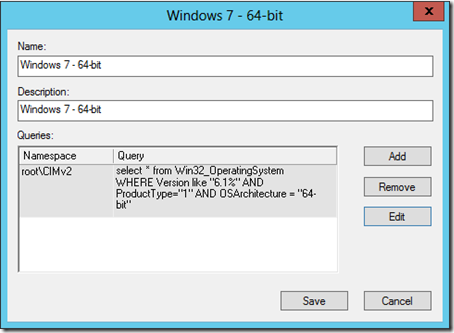 "select * from Win32_OperatingSystem WHERE Version like ""6.1%"" AND ProductType=""1"" AND OSArchitecture = ""64-bit"""