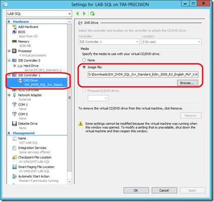 Attach the ISO to the virtual machine