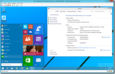 Windows 10 Technical Preview screen shot