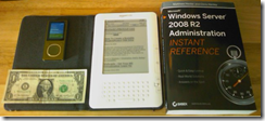 The Kindle 2 size compared to everyday objects