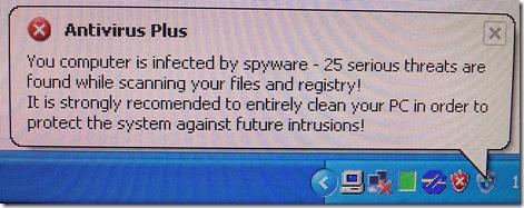 Antivirus Plus system tray message
