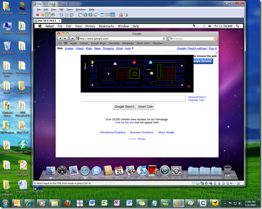 Playing PacMan on the Google.com home page in Safari on a Mac in a virtual machine on Windows 7.