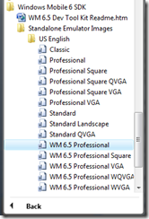Start Menu location of WM6.5 emulators