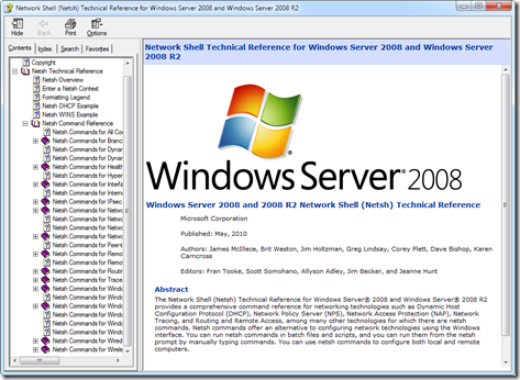 Screenshot of 2008 R2 Netsh Technical Reference