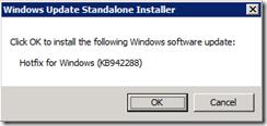 Install Hotfix 942288 - OK