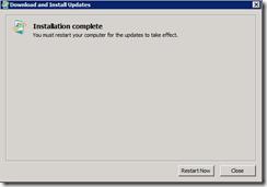 Installation complete - Reboot