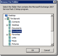 Browse to expanded Exchange 2007 SP2 files
