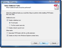 Additional Tasks - click Next