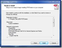 Ready - click Install then click Finish