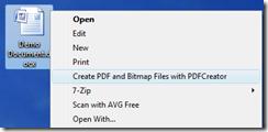 Right-click document, click Create PDF