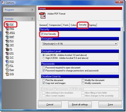 Click PDF, click Security tab, click Use Security