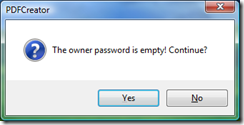 Optional screen - only happens when Owner Password is blank