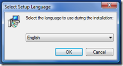 Pick English and click OK