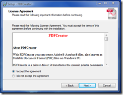 Accept the license agreement - click Next