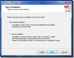 Standard Installation - click Next