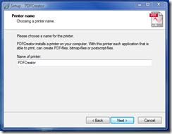 Printer Name - click Next