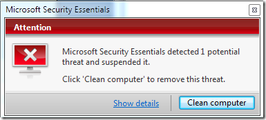 Microsoft Security Essentials - Virus found