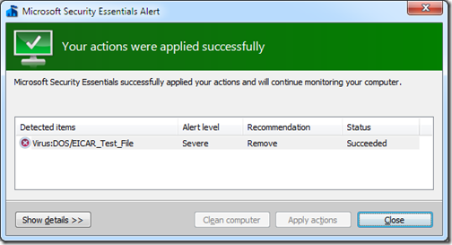 Microsoft Security Essentials - Virus removed