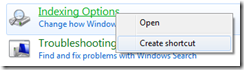 Creating a shortcut for Control Panel items