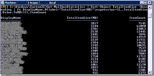 List of mailbox sizes in Exchange 2007 via PowerShell