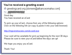 Fake e-card / virus / trojan
