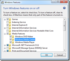 Uninstall Windows Media Center featue in Windows 7