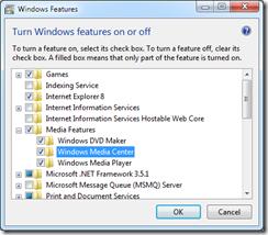 Uninstall Windows Media Center featue in Windows 7